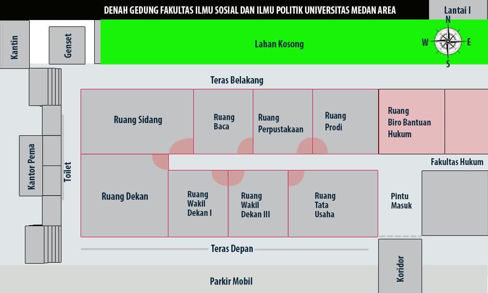 Denah Gedung Fakultas Isipol lantai 1